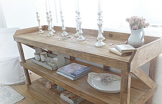 could be made into an island: Dining Room, Vintage Shabby Chic Antique, Consoles, Console Table, Buffet Table, Bathroom Vanities, Chic Console, Shabby French, Laundry Room