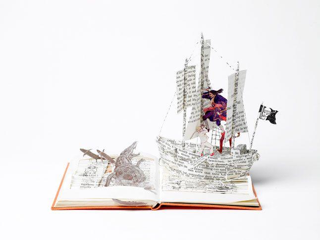Peter Pan, The Pirate Ship by Su BlackwellAlteredbook, Captain Hook, Paper Sculpture, Peterpan, Altered Book