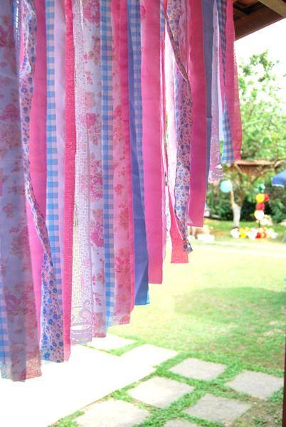 cortina de tiras de tecido