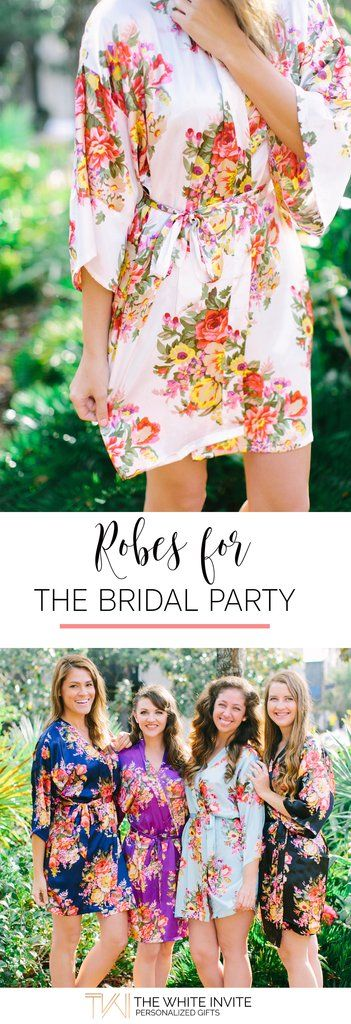 Bridesmaid Robes - Bridesmaid Gift - Floral Robes - Wedding Robes - Satin Kimono Robe Your bridesmaids will love these customizable floral bridal party robes. And you'll love the adorable getting ready pictures. Available in a variety of colors to match your wedding! A great addition to a bridesmaid gift basket.