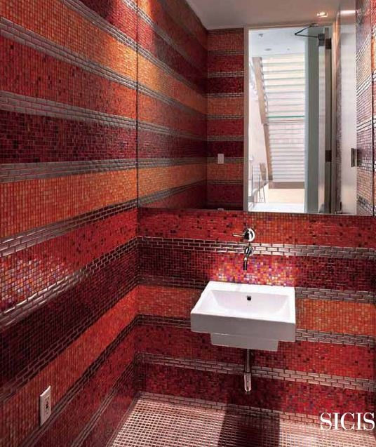 35 Red Mosaic Bathroom Tiles Ideas And Pictures