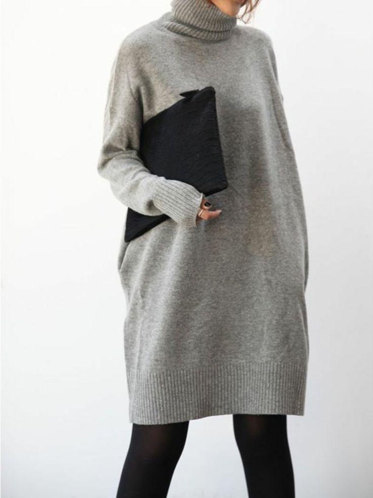 oversize Rollkragenpullover Damen in Grau