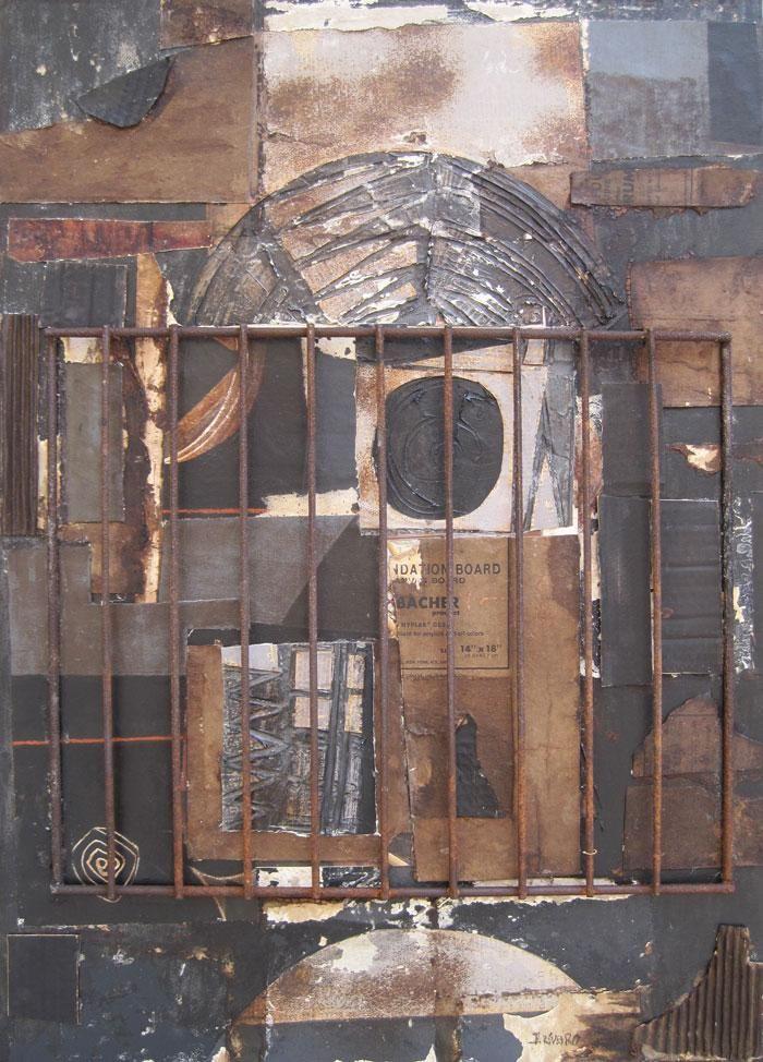 """Jaime Riveiro """"En la profundidad de la noche"""" Técnica mixta y collage sobre tela 70 X 50 cms. Año 2013  http://www.portondesanpedro.com/ver-producto.php?id=10864"""