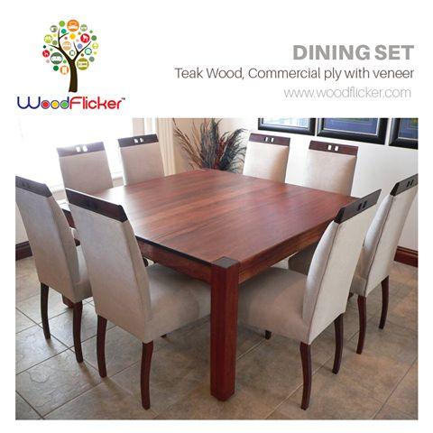Dining Set  Shop Now : www.woodflicker.com  #woodflicker #diningset #onlinewoodenfurniture #furnitureindelhi