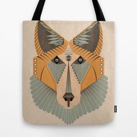 Fox design on tote bag. Available for sell on society 6