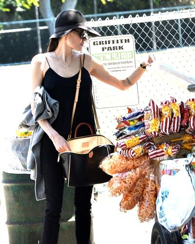 Angelina Jolie stopped for snacks during her kids' soccer game in LA on May 2.