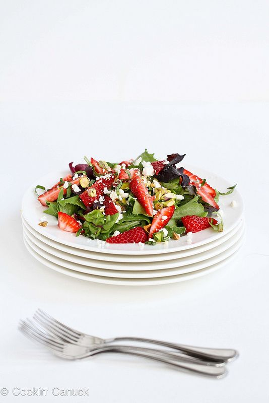 Strawberry, pistachio, feta cheese and basil salad.