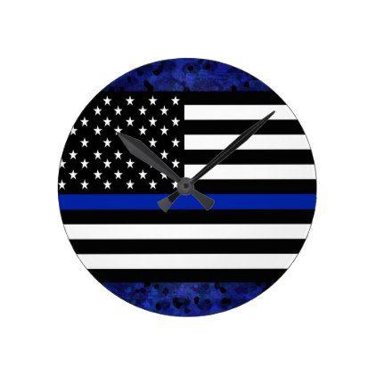 Police Flag with Officers Round Clock - office decor custom cyo diy creative