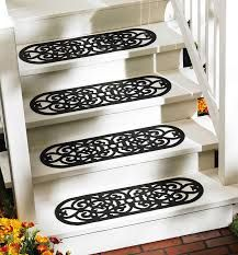 Set Of 4 Oval Scroll Pattern Black Rubber Outdoor Stair Treads Safety Step  Mats