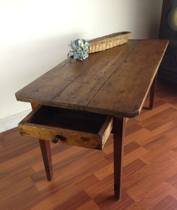 Antique French Farm Dining Table With Drawer F089