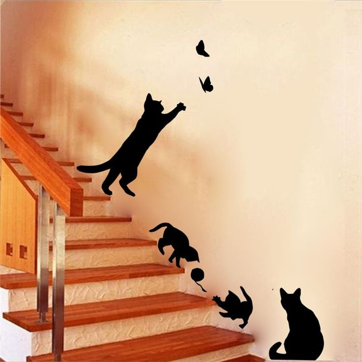 4 cute cats playing wall stickers kids room decorations 707. diy home decals vinyl art animals poster adesivos de paredes 4.5