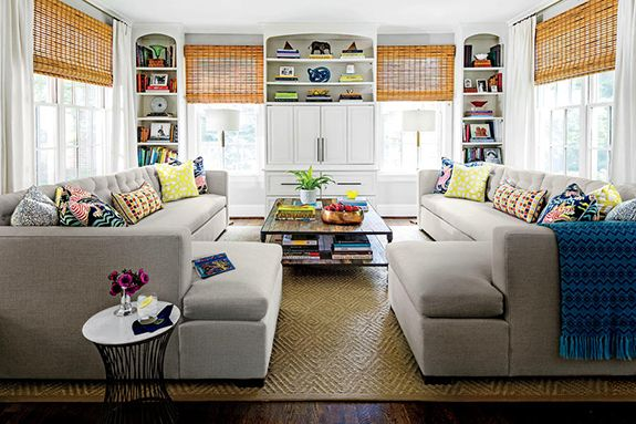 Aesthetic Oiseau: Traditional Twist in RichmondDesigned by Charlotte Lucas, Photos by Laurey Glenn for Southern Living,, bamboo shades, built ins, sectional sofa, two couches, couch pair, two sectionals in room,