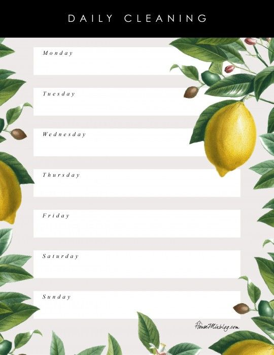 Pretty floral printable daily cleaning schedule and list - blank