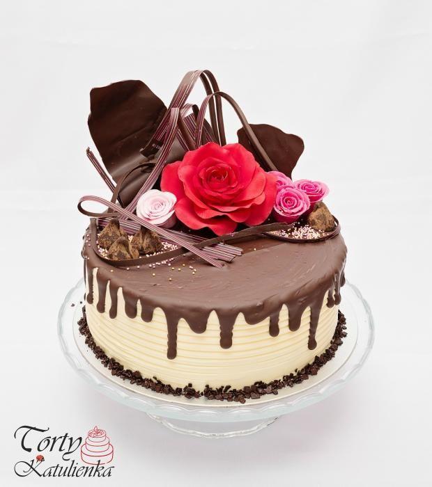 Drip Cake s ružami torta. Autorka: tortykatulienka. Tortyodmamy.sk