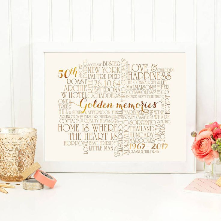 A perfect 50th wedding anniversary gift, created using special words to capture years of special memories as a couple.Gold effect font.