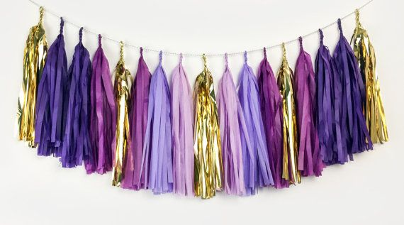 Oh My Glob - Purple, Lavender, Plum, Gold Tassel Garland - Party Decoration//Wedding Decor//Photo Booth Backdrop