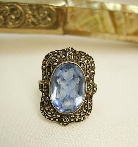 Vintage Art Deco Ring Marcasites And London Blue Gl By Vintagesparkles