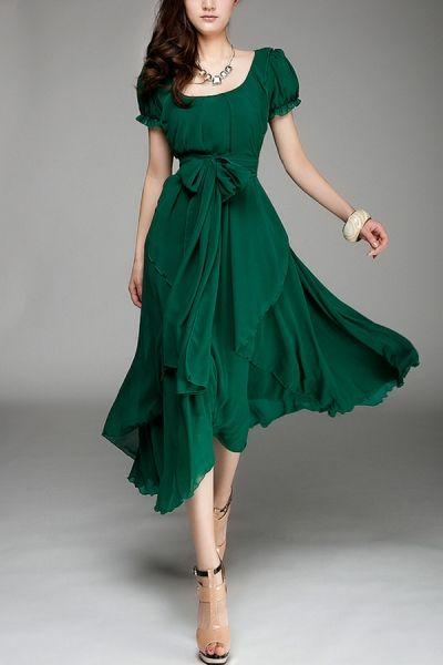 Irregular Hemline Bound Waist Short Sleeve Dress OASAP.com $119.00