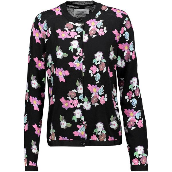 Thom Browne - Floral-print Wool Cardigan ($487) ❤ liked on Polyvore featuring tops, cardigans, multi, floral print cardigan, thom browne cardigan, floral print tops, colorful cardigan and flower print tops