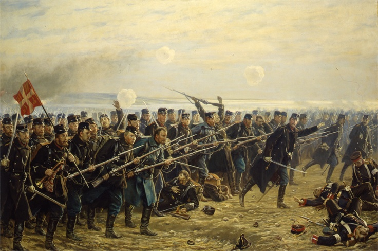 """Ottende brigades angreb ved Dybbøl"", painted by Vilhelm Jacob Rosenstrand, 1894. The Museum of National History, room 65"