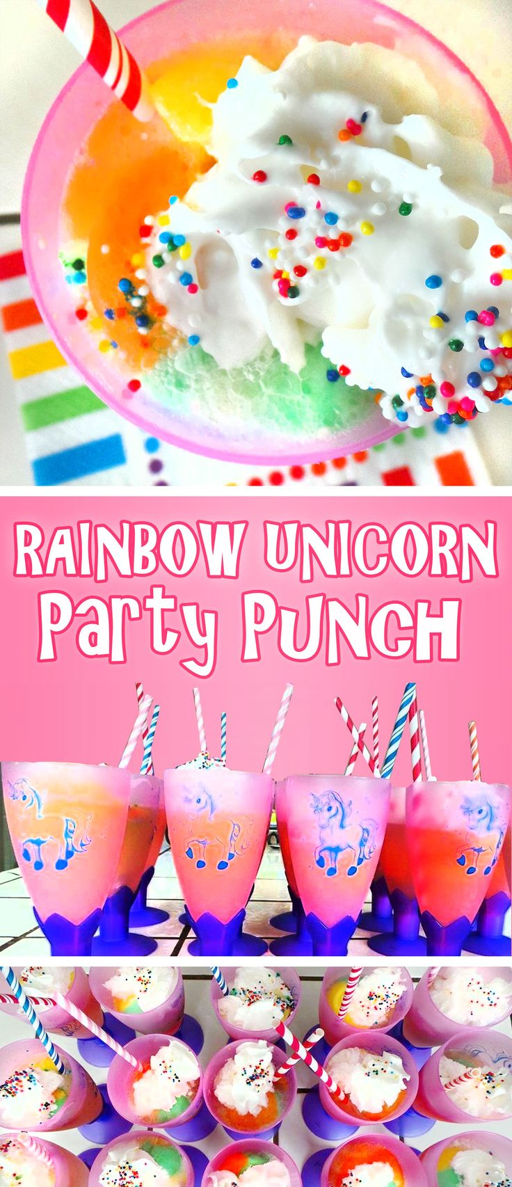 rainbow unicorn punch is a super easy and fun treat for birthday parties!