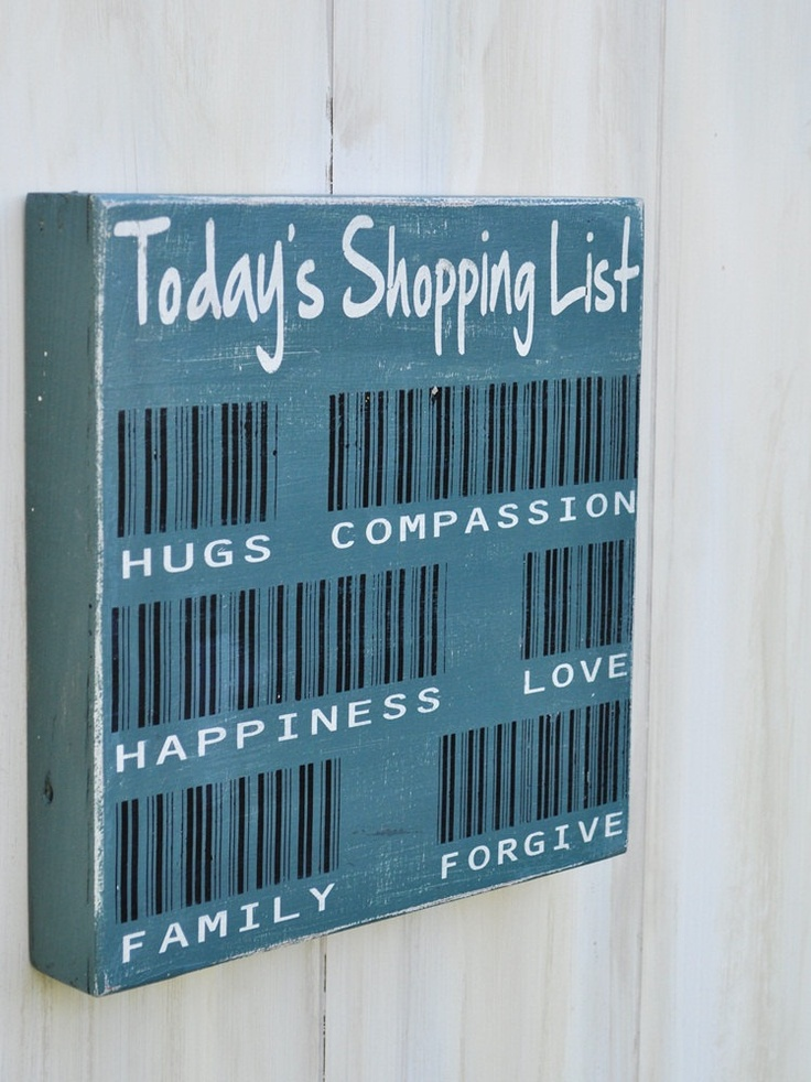 Custom Wood Sign Typography Word Art  - Today's Shopping List with Bar Codes- Hand Painted Kitchen Wall Decor. $28.00, via Etsy.
