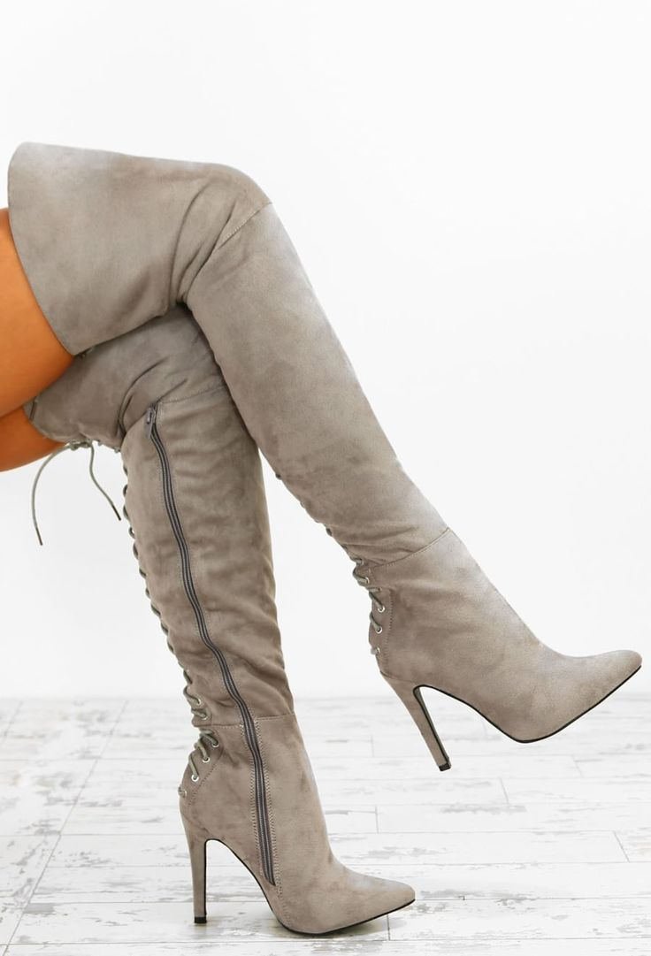 Lady Danger Grey Faux Suede Lace Up Over The Knee Boots | Pink Boutique