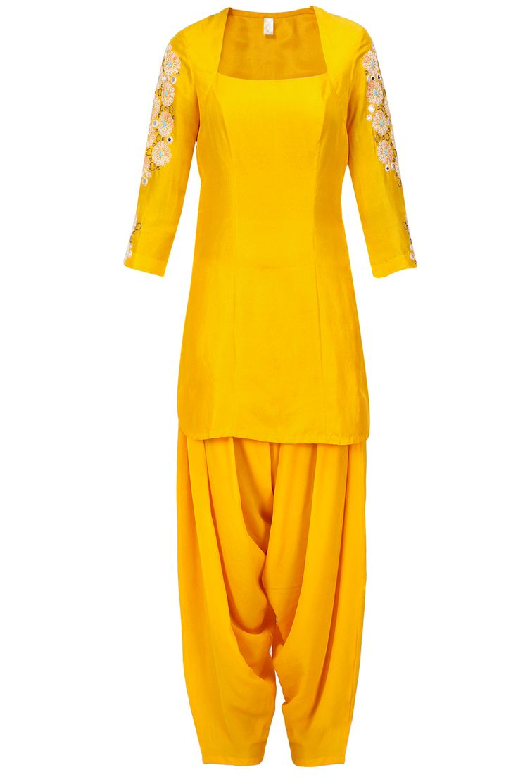 Mango yellow mirror embroidered short kurta with salwaar available only at Pernia's Pop-Up Shop.