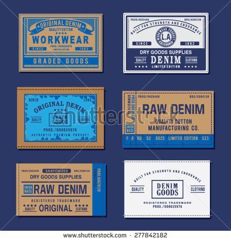 Denim labels typography, t-shirt graphics, vectors, vintage
