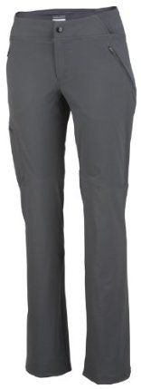 Columbia Sportswear Back Up Passo Alto Straight Leg Pant (14, Grill) by Columbia. $41.95. Back-Up waist. 90% nylon/10% elastane. Omni-Wick moisture management. Omni-Shade UPF 50 sun protection. We kept the cut closer to the body for an active fit that is never loose or sloppy. Quick-wicking stretch nylon keeps moisture off your body while UPF 50 sun protection shields you from harmful UV rays. The Back-Up® waist is lower in the front but follows the contours of your body, ...