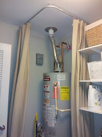 Basement Laundry Room Makeover : ikea kvartal track system  *Do this in my new laundry room to cover up the ugly water heater!