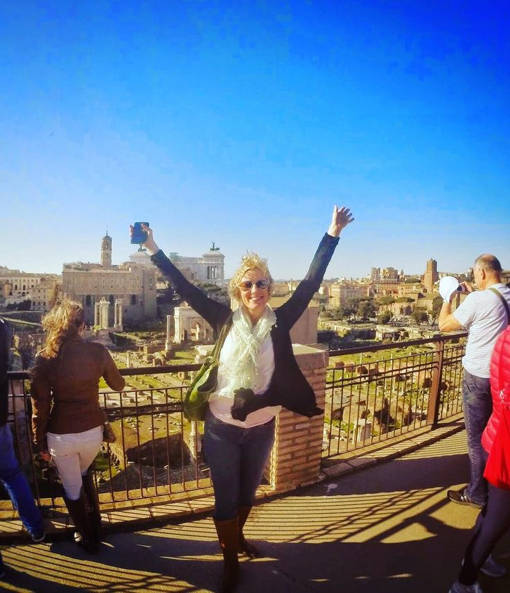 """Happy #Monday! Here is of my favorite #travel quotes to get you motivated: """"I haven't been everywhere but it's on my list""""  Flashback moment to one of the most majestic spots steeped in history: the #Palatino / #Palatine Hill near the #Colosseum in #Rome - this hilltop site includes sweeping views of just about everything including the #romanforum and the #altarofthefatherland - This was my #ImEcstaticWhereIsTheWine pose! @livitalytours does a fantastic job with their tours - informational…"""