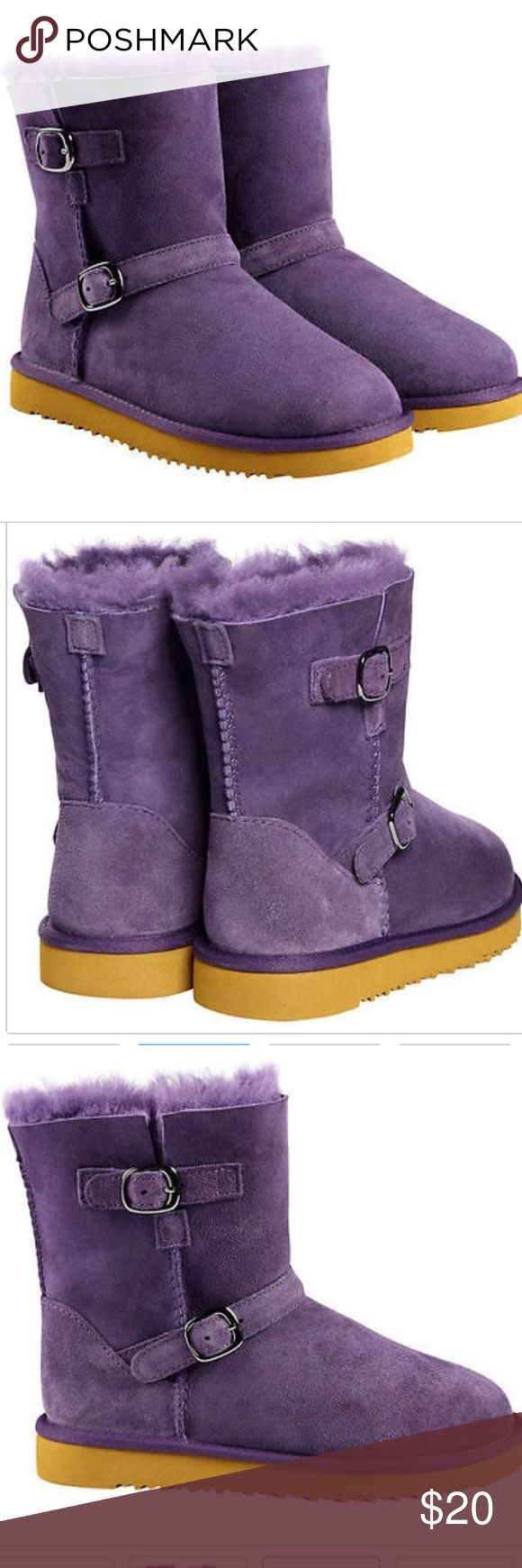 Girls Purple Buckle Boots Kirkland brand, retail for $28. Bought these and she only wore once! Very good condition, ugg like boots Shoes Boots