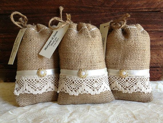 10 lace covered burlap Personalised favor bags, wedding, bridal shower, engagement, anniversary or party favor bags on Etsy, $37.00