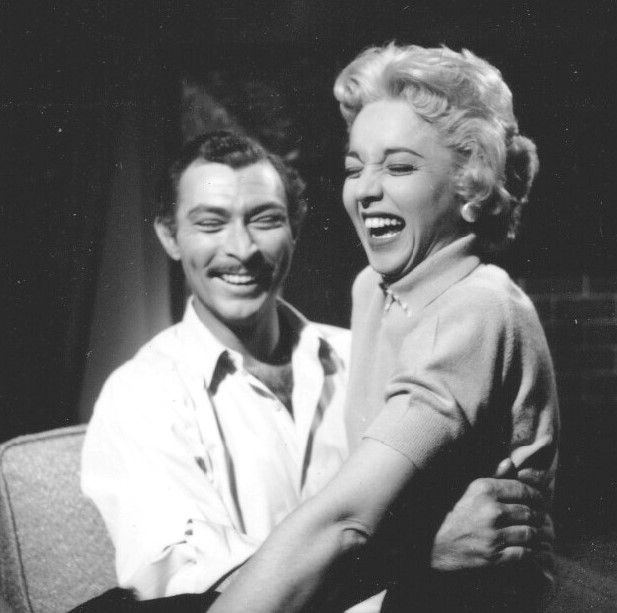 Lee Van Cleef and Beverly Garland share a light moment on the set of It Conquered the World (1956)