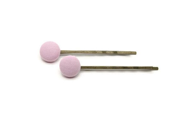 Fabric Button Hairpins - Fabric Hairpins - Button Hairpinss - Antique Bronze Hair Pins - Pink Fabric Buttons - Fabric Covered Buttons