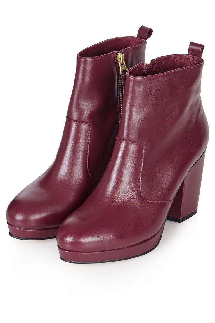Topshop marsala burgandy dark red ankle platform boots Photo 4 of HAKKA Inside Zip Boots