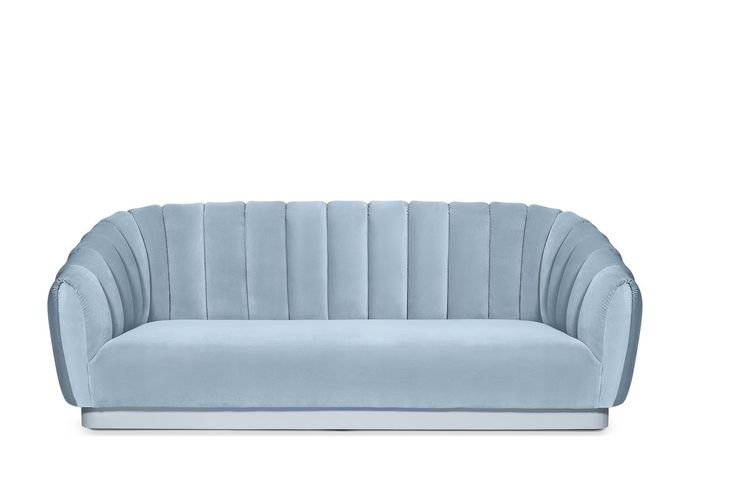 If you're looking for a living room sofa that is memorable and inviting, meet OREAS Velvet Sofa and it's mesmerizing curves. | Modern Sofas. Living Room Furniture Set. #modernsofas #bluesofa #velvetsofa Discover more: https://www.brabbu.com/en/upholstery/oreas-sofa/