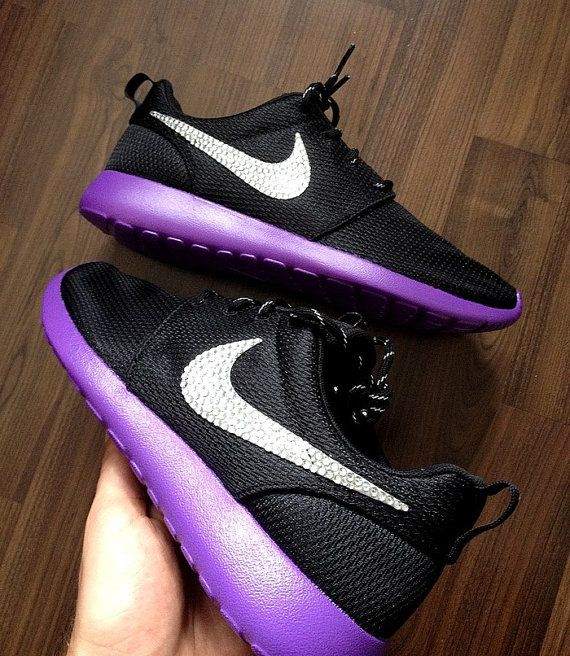 official photos b6d71 34a5c Nike Roshe Run Black Custom Purple Sole Paint with by DenisCustoms   Custom  Sneakers in 2019