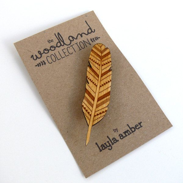 Part of my Woodland Collection, this wonderful feather brooch has been designed by me and intricately laser cut in 3mm birch wood. Looks so cute on a knitted cardigan, just perfect for Autumn!  The feather measures approx. 8 x 2 cm Wooden Feather Brooch by laylaamber on Etsy