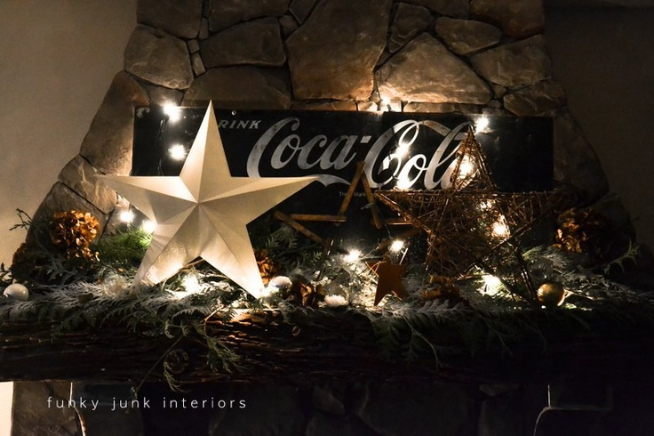 Coca Cola inspired Christmas fireplace mantel decorating with stars - via Funky Junk Interiors