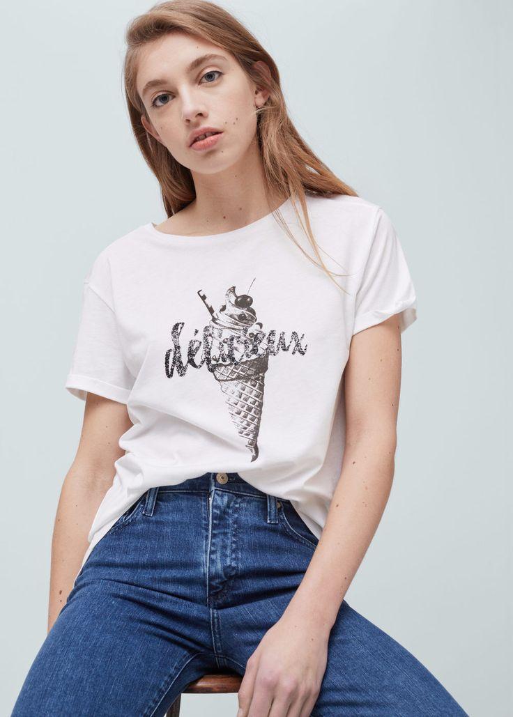 Cotton modal-blend t-shirt - T-shirts for Women | MANGO USA