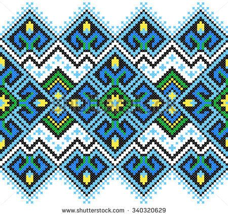 seamless embroidered good like handmade cross-stitch Ukraine pattern. winter colors