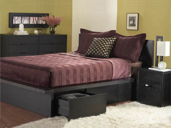 dania the platform bed features four storage drawers made with solid mahogany and mahogany veneers with a hand rubbed charcoal black