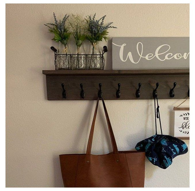 Rustic Wooden Coat Entry Rack Coat Hanger Wall Mount Wood Hook Rack With Shelf Coat Hook Rack En Coat Hanger Wall In 2020 Wall Hanger Coat Hanger Coat Rack Wall