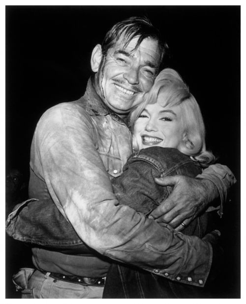 """Clark Gable and Marilyn Monroe on """"The Misfits"""". It was to be the last completed film for each of them..."""