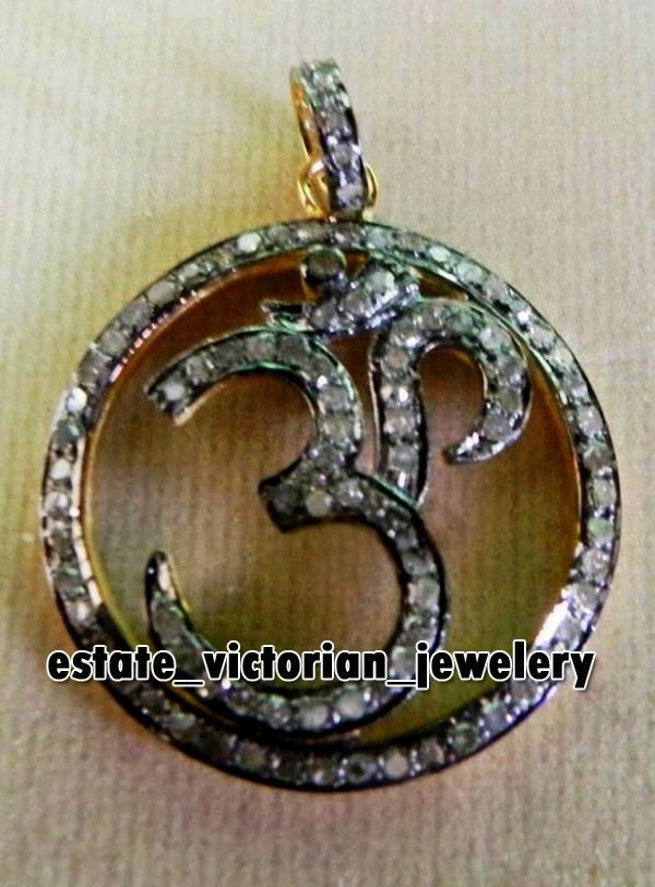 2.63cts Rose Cut Diamond Estate Vintage Silver Religious Lord OM Pendant Jewelry #estateVictorianJewelery #AntiqueFinishedNaturalPaveDiamondOMPendants