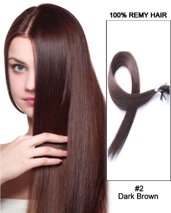 """14""""#2 Dark Brown Straight Flat Tip 100% Remy Hair Flat Pre Bonded Hair Extensions-100 strands, 1g/strand"""