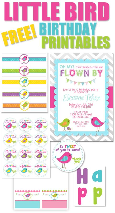 FREE BIRD BIRTHDAY PRINTABLES