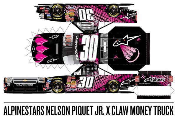 Truck Paper Model Template | Nelson Piquet Jr. / Claw Money Nascar Truck | Alpinestars